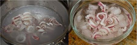 Ngâm mực vào nước sạch cho mực trắng