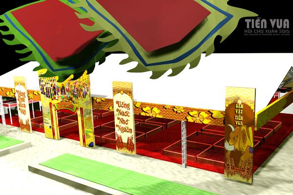 Khu vực Sản Vật Tiến Vua được sắp xếp vị trí và trang hoàng long trọng nhất tại Hội chợ xuân 2015