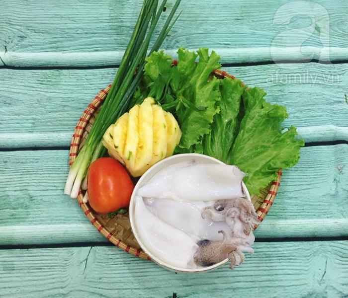 Nguyên liệu cho món canh chua mực (ảnh minh họa)