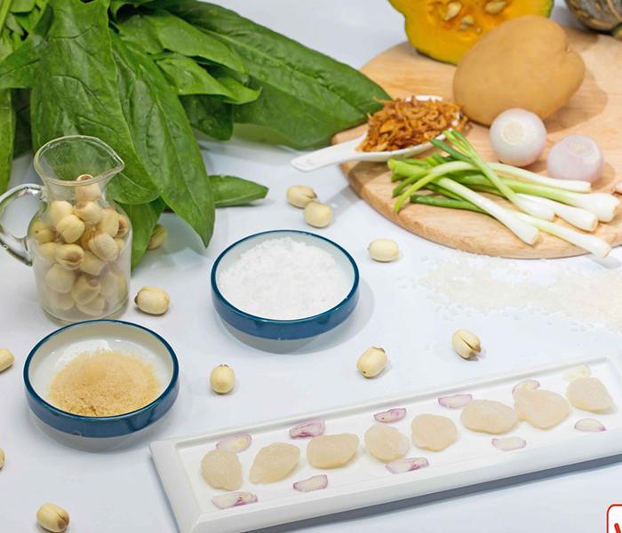 Nguyên liệu nấu món cháo bí đỏ sò điệp (Ảnh minh họa)