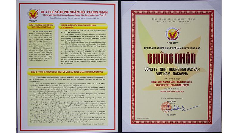 Danh hiệu hàng Việt Nam chất lượng cao do người tiêu dùng bình chọn 2017